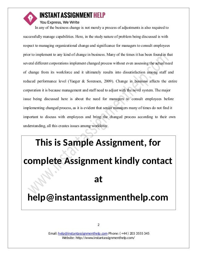 Organizational change and significance for managers assignment sample