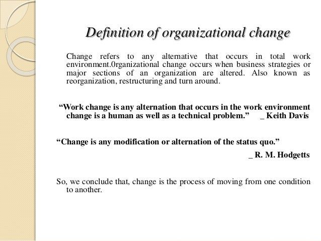 organizational change examples