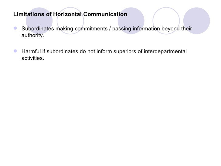 Limitations of Horizontal Communication Subordinates making commitments / passing information beyond their  authority. H...