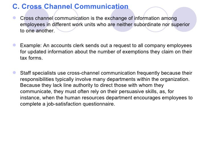 C. Cross Channel Communication Cross channel communication is the exchange of information among  employees in different w...