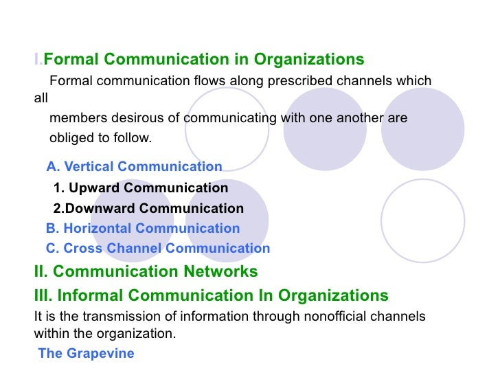 I.Formal Communication in Organizations      Formal communication flows along prescribed channels whichall      members de...
