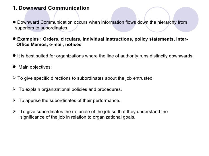 main objectives of downward communication The objective of upward communication is smooth/effective transition of information or messages from lower levels of hierarchy to the upper levels within the organisation and vice versa for.