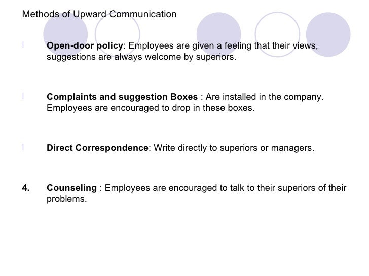 Methods of Upward Communicationl    Open-door policy: Employees are given a feeling that their views,     suggestions are ...