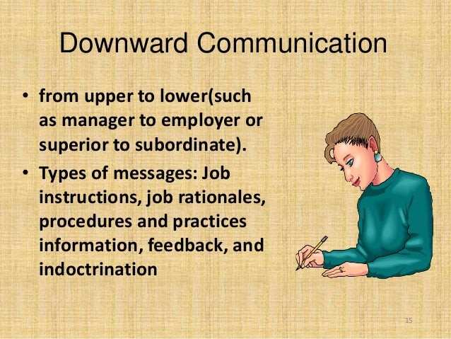 15 Downward Communication • from upper to lower(such as manager to employer or superior to subordinate). • Types of messag...