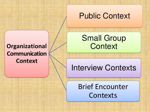 Organizational Communication Context Public Context Small Group Context Interview Contexts Brief Encounter Contexts