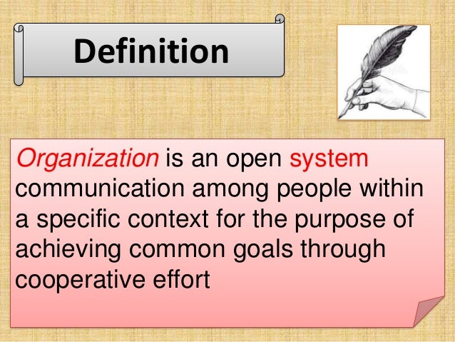 definition of an organization An organization is a group of people who work together, like a neighborhood association, a charity, a union, or a corporation organization is also the act of forming or establishing something (like an organization.