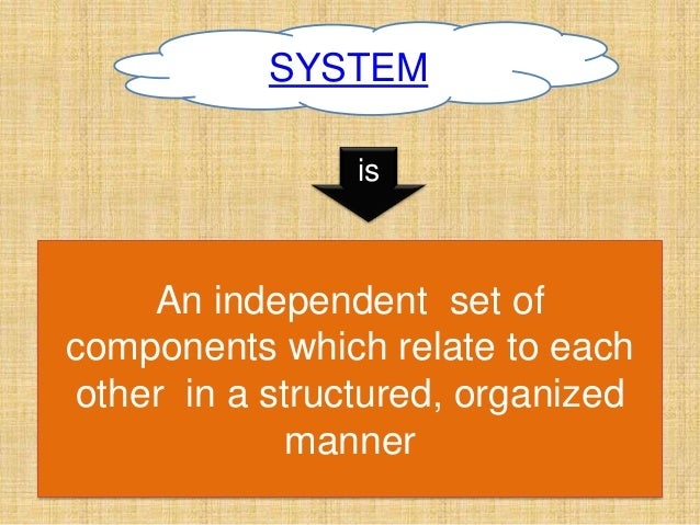 SYSTEM An independent set of components which relate to each other in a structured, organized manner is