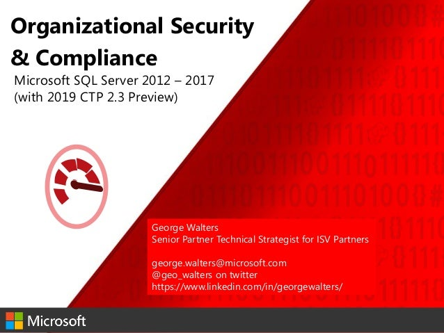 Organizational compliance and security SQL 2012-2019 by