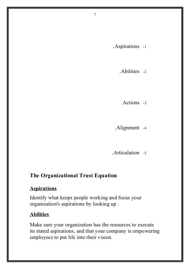 1-Aspirations. 2-Abilities. 3-Actions. 4-Alignment. 5-Articulation. The Organizational Trust Equation Aspirations Identify...