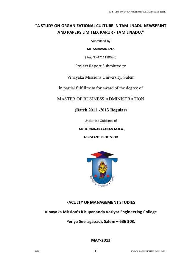 "A STUDY ON ORGANIZATIONAL CULTURE IN TNPLFMS 1 VMKV ENGINEERING COLLEGE""A STUDY ON ORGANIZATIONAL CULTURE IN TAMILNADU NEW..."