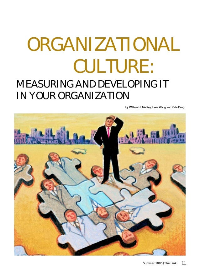 11Summer 2005 The Link MEASURING AND DEVELOPING IT IN YOUR ORGANIZATION ORGANIZATIONAL CULTURE: by William H. Mobley, Lena...