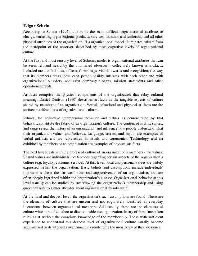 edgar schein model essay Schein i relation til første bølge, gør den amerikanske videnskabsmanden edgar h schein sig gældende han var interesseret i.