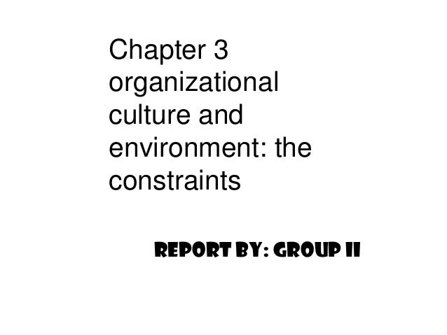 Chapter 3 organizational culture and environment: the constraints Report by: Group II