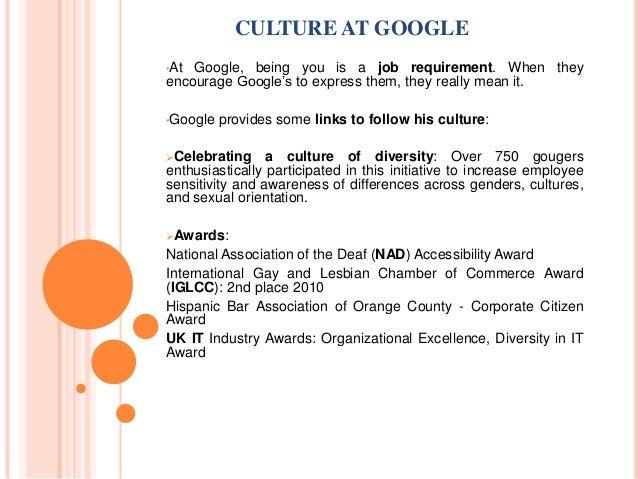 Google organizational culture essays