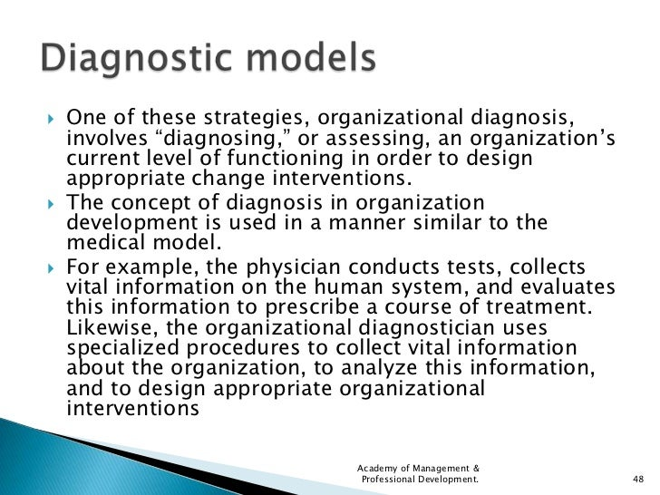 organization diagnosis History and application of organizational development theory diagnosis helps organization identify problems that may interfere with its effectiveness and assess the underlying causes usually done by.