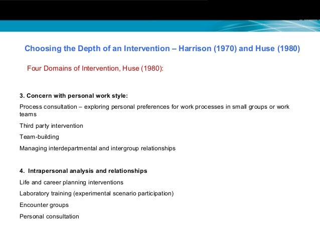 process consultation intervention Part ii shifts from diagnosis toward the kinds of intervention which the process consultant makes--establishing contact and defining a relationship, selecting a setting and a method of work, gathering the data, intervention, and evaluation of results and disengagement.