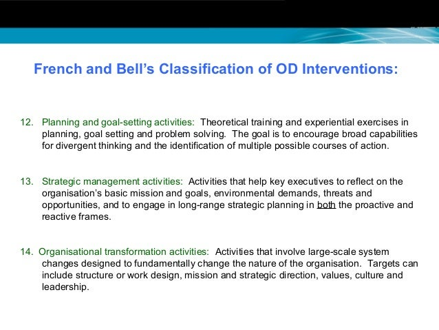 intergroup and third party peacemaking interventions french and bell French & bell organization od interventions target group development activities third-party peacemaking activities coaching and.