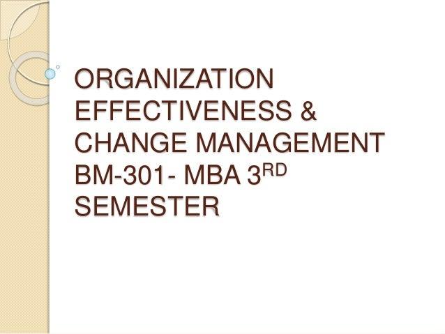 ORGANIZATION EFFECTIVENESS & CHANGE MANAGEMENT BM-301- MBA 3RD SEMESTER