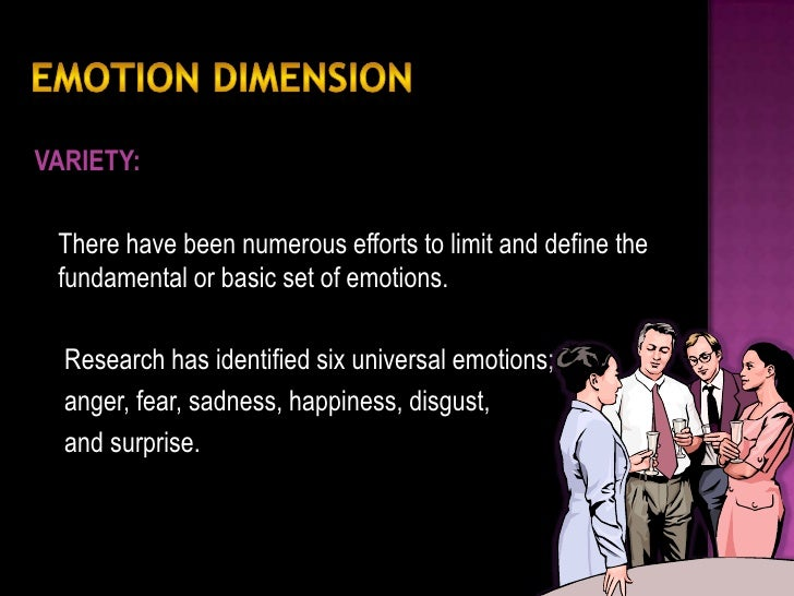 Research has identified six universal emotions: Anger Fear Sadness Happiness Disgust Surprise