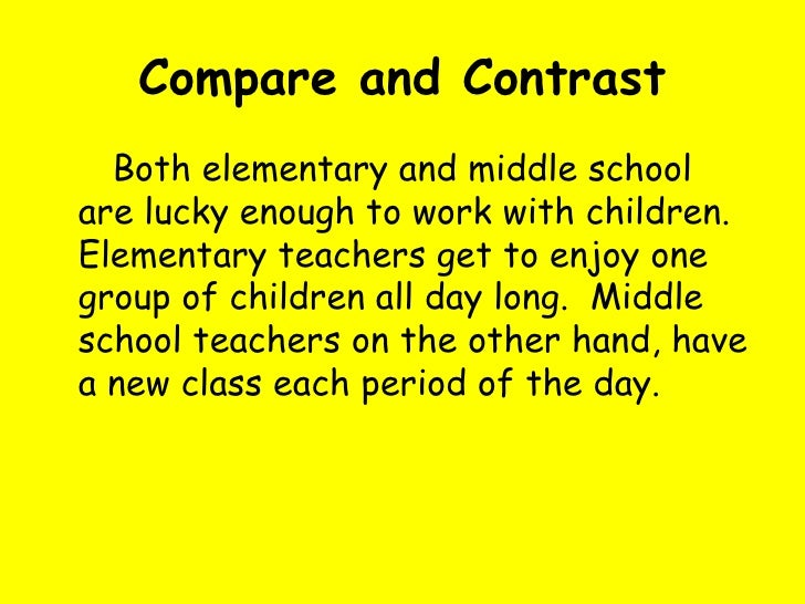 how to write compare and contrast essay middle and elementary school