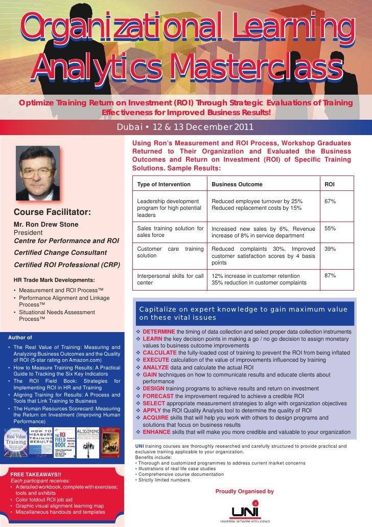 Organizational Learning     Analytics Masterclass    Optimize Training Return on Investment (ROI) Through Strategic Evalua...