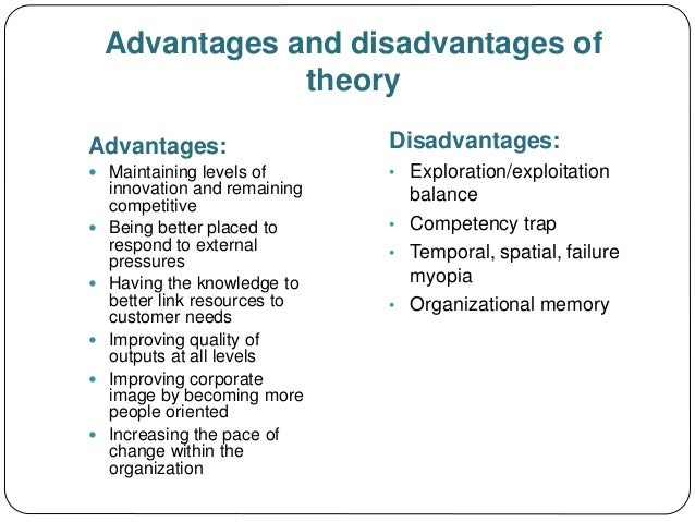advantages and disadvantages of fayol management theories Also i will state the advantages and disadvantages for  fayol's classical management  the different management theories used within bodyshop and.