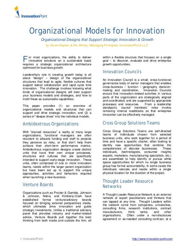 Organizational Models For Innovation