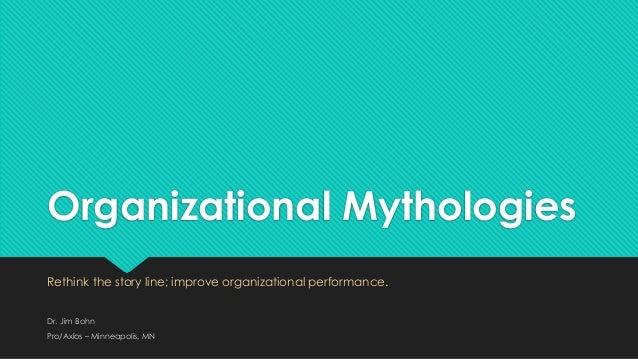 Organizational MythologiesRethink the story line; improve organizational performance.Dr. Jim BohnPro/Axios – Minneapolis, MN