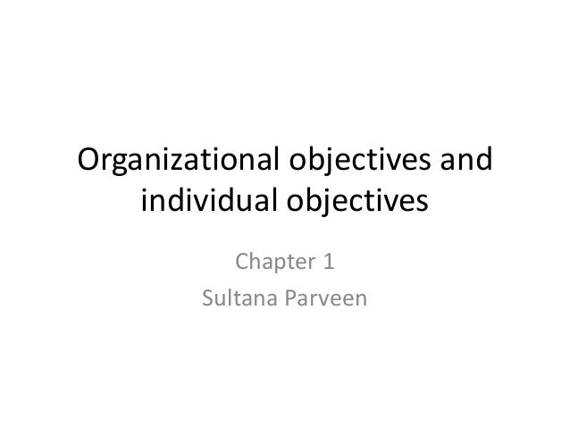 Organizational objectives and individual objectives Chapter 1 Sultana Parveen