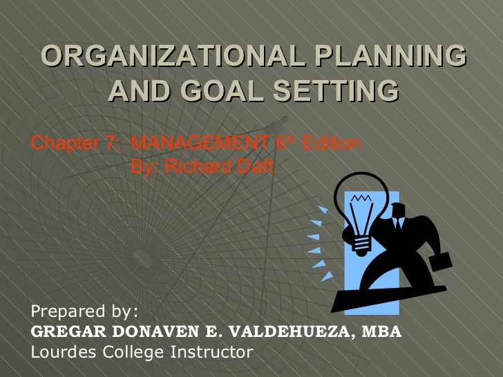 ORGANIZATIONAL PLANNING AND GOAL SETTING Chapter 7:  MANAGEMENT 6 th  Edition   By: Richard Daft Prepared by: GREGAR DONAV...
