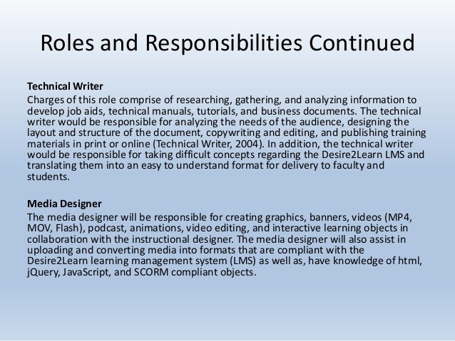 instructional designer roles and responsibilities