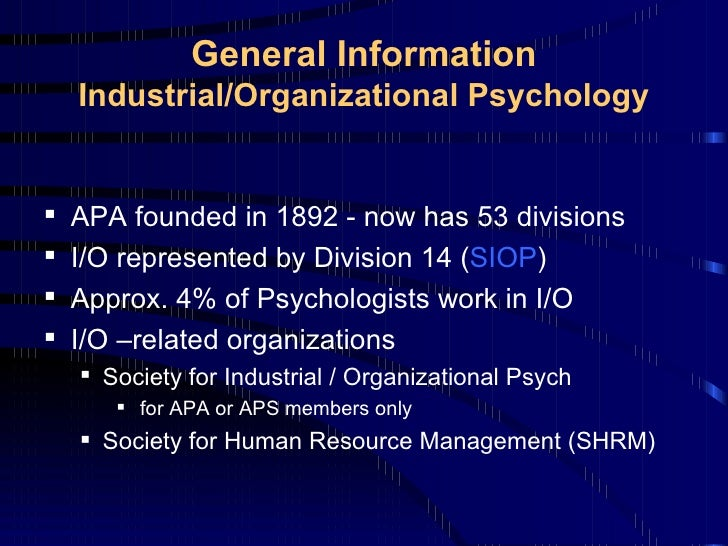industrial psychology essay Open document below is an essay on industrial and organizational psychology from anti essays, your source for research papers, essays, and term paper examples.