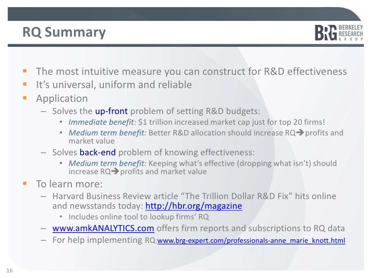 RQ Summary      The most intuitive measure you can construct for R&D effectiveness      It's universal, uniform and reli...
