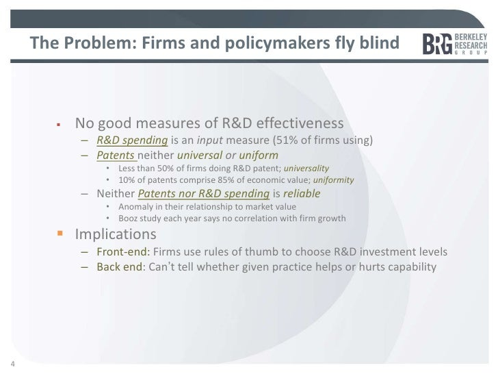 The Problem: Firms and policymakers fly blind4          No good measures of R&D effectiveness           – R&D spending is...