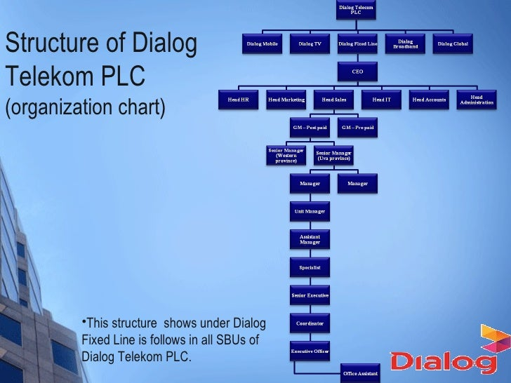 organization structure culture of dialog telekom Corporate social responsibility (csr) is a culture by itself for dialog telekom that drives them on visioning to empower all sri lankans equitably, integrating resources, values and ethics across economic, social, cultural and traditional boundaries it is integral part of their business in whatever they do, plan and believe.