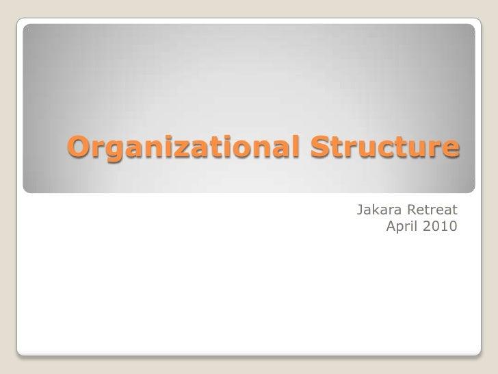 Organizational Structure<br />JakaraRetreatApril 2010<br />