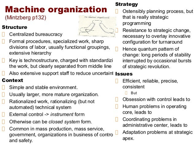 machine bureaucracy organizational structure
