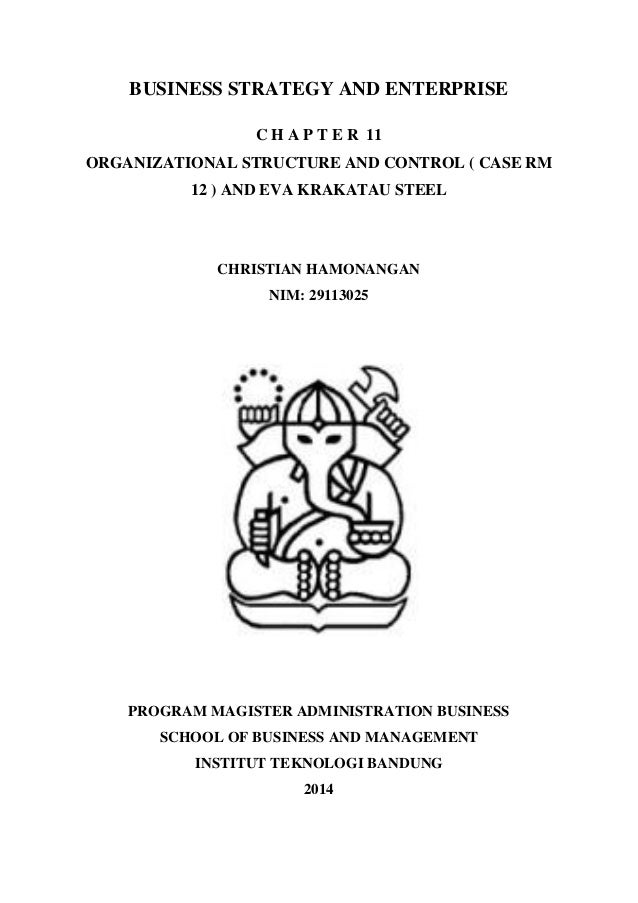 BUSINESS STRATEGY AND ENTERPRISE  C H A P T E R 11  ORGANIZATIONAL STRUCTURE AND CONTROL ( CASE RM 12 ) AND EVA KRAKATAU S...