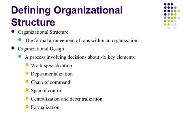 Defining examining and designing an organizational structure