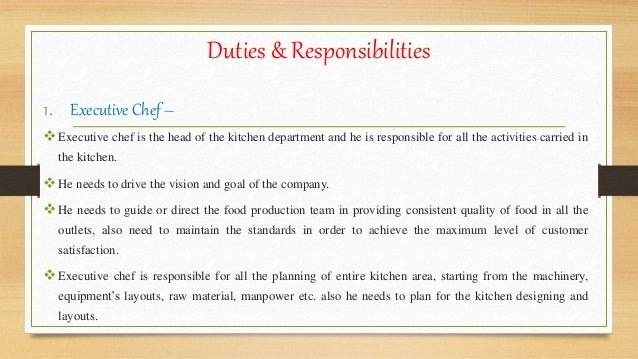 Organizational structure in kitchen