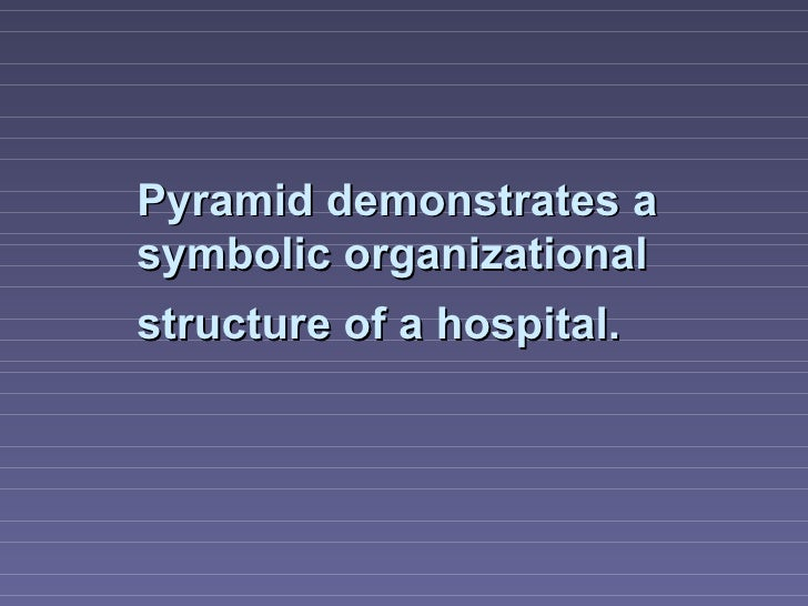 Pyramid demonstrates asymbolic organizationalstructure of a hospital.