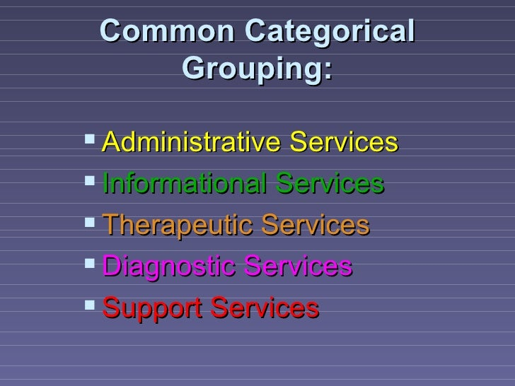 Common Categorical    Grouping: Administrative Services Informational Services Therapeutic Services Diagnostic Service...