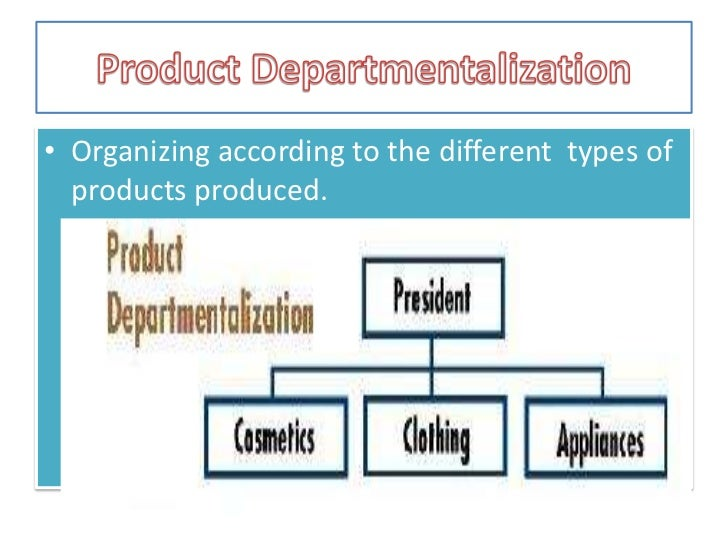 Different types of departmentalization within an