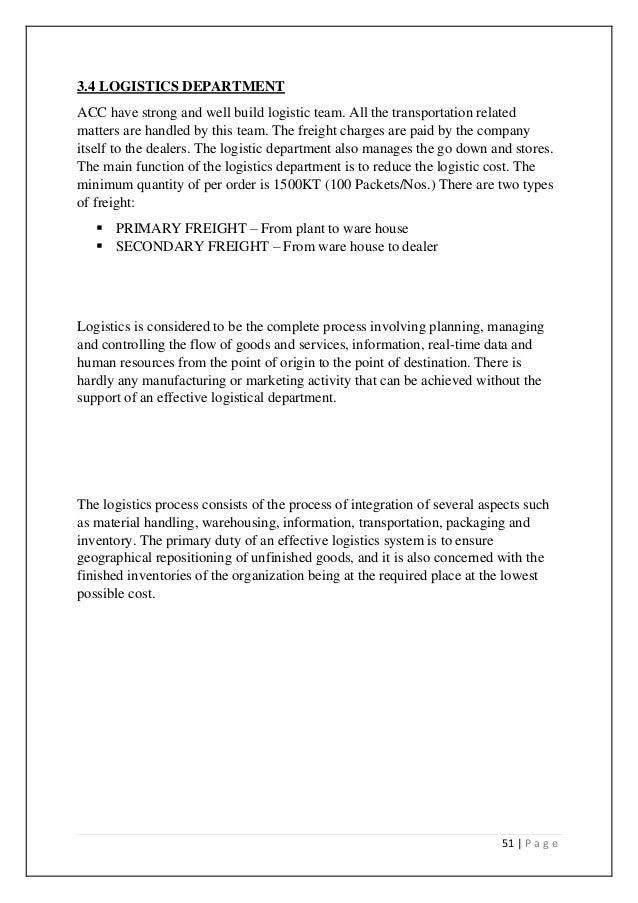 Organizational study on acc limited banglore