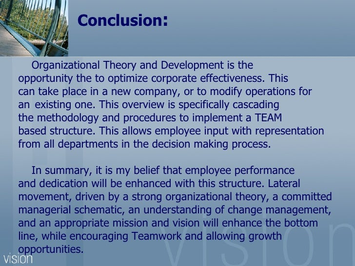 conclusion of organisational structure