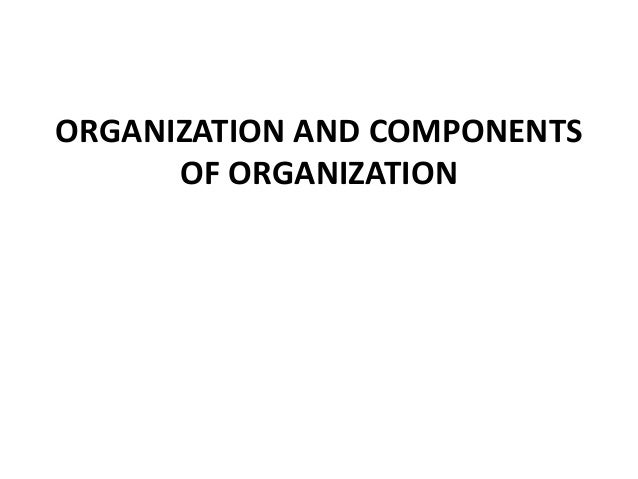 ORGANIZATION AND COMPONENTS OF ORGANIZATION