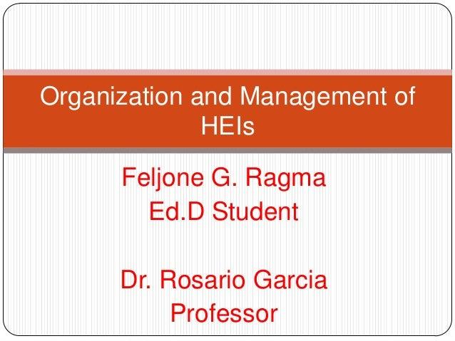 Organization and Management of HEIs Feljone G. Ragma Ed.D Student  Dr. Rosario Garcia Professor