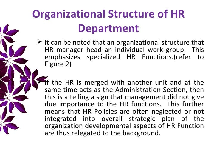 Organizational Location of Human Resource in the Organization – Human Resources Organizational Chart