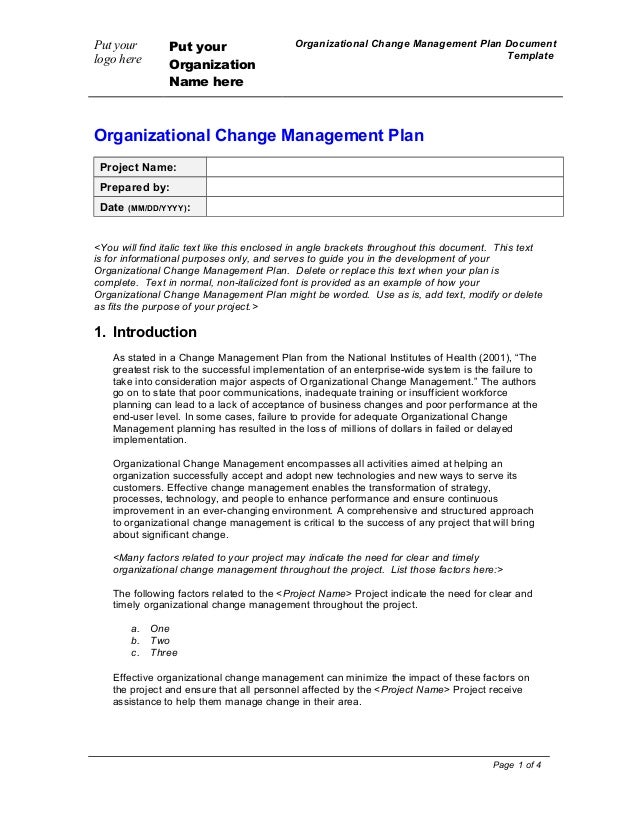 Put yourlogo herePut yourOrganizationName hereOrganizational Change Management Plan DocumentTemplateOrganizational Change ...