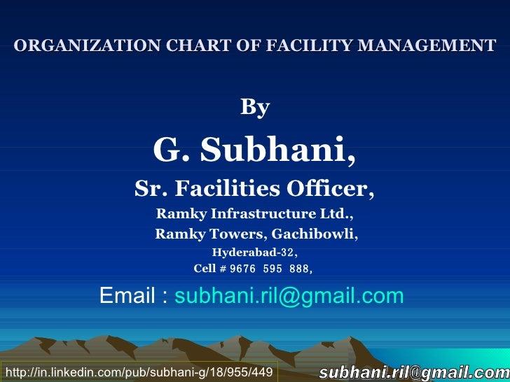 ORGANIZATION CHART OF FACILITY MANAGEMENT <ul><li>By </li></ul><ul><li>G. Subhani, </li></ul><ul><li>Sr. Facilities Office...
